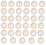 Many round clocks show different time