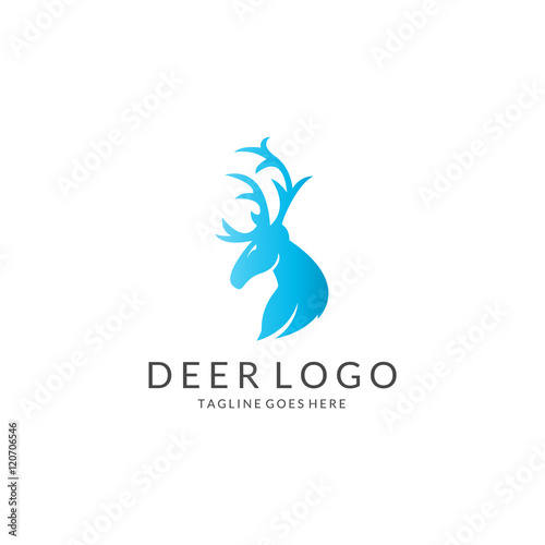 Fotobehang Hipster Hert Deer logo. Easy to edit, change size, color and text.