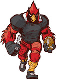 Vector Cartoon Cardinal Football Player Mascot in Uniform - 120713723