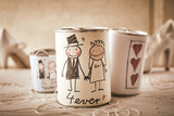 Fototapety Married forever symbol written on stringed cans