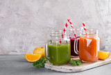 Fresh juice in the jar for detox or healthy lifestyle