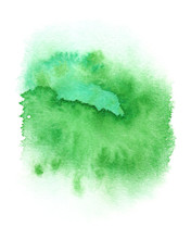 Ljust grön runda färgstänk som målas i vattenfärg på ren vit bakgrund