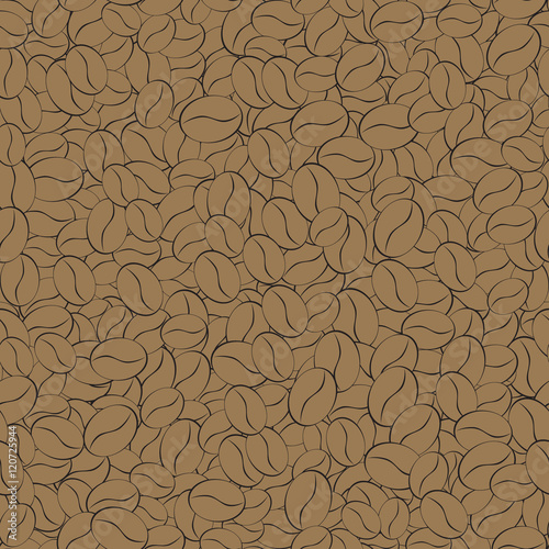 Fotobehang Koffiebonen seamless pattern of coffee beans