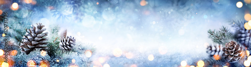 Christmas Decoration Banner - Snowy Pine Cones On Fir Branch With Lights