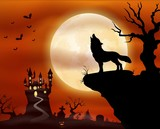 Halloween night background with wolf howling, castle and full moon
