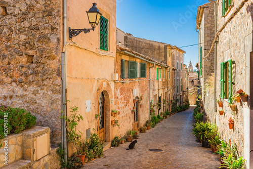 Quaint street at Spain Majorca old village Valldemossa