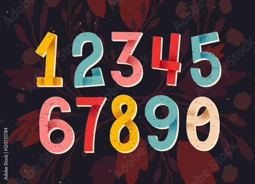 Colorful set of hand drawn numbers, folded paper numbers for you