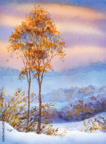 akwarela-zimowy-krajobraz-osniezona-dolina-i