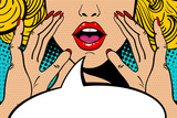 Fototapety Sexy surprised blonde pop art woman with open mouth and rising hands screaming announcement. Vector background in comic retro pop art style. Party invitation.