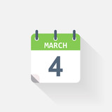 4 march calendar icon on