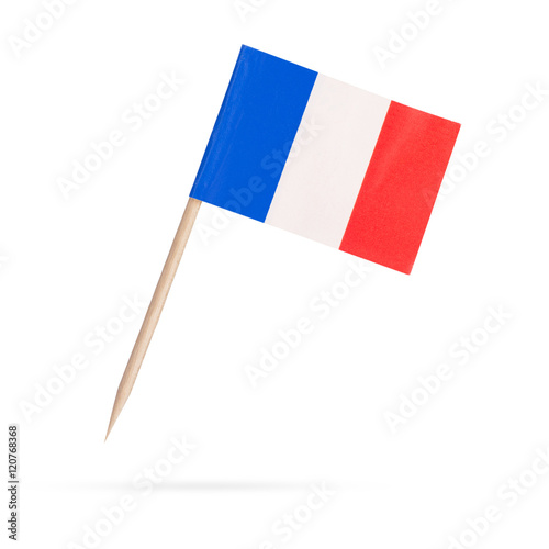 Miniature Flag France. Isolated on white background