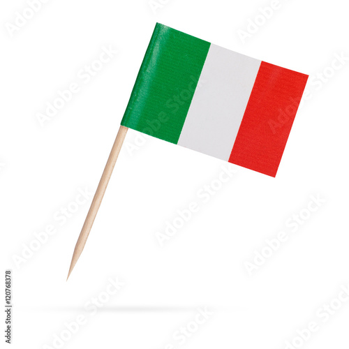 Miniature Flag Italy. Isolated on white background