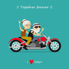 Happy grandparents day. Ederly couple on the motorcycle. Together forever. I love you. Greeting card, background.