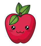 apple with kawaii face icon. Cute cartoon and character theme. Isolated design. Vector illustration