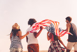 Friends with American flag.  - 120775306