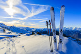 Fototapety Ski in winter season, mountains and ski touring equipments on th