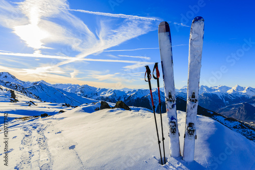 Foto op Plexiglas Donkerblauw Ski in winter season, mountains and ski touring equipments on th