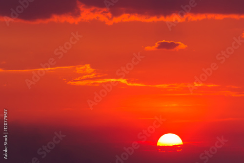 Aluminium Rood Sunset sun and clouds, sunrise nature background