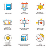 Vector set of icons related to career progress and business management. Infographics design elements - part 7