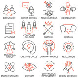 Vector set of 16 icons related to business management, strategy, career progress and business process. Mono line pictograms and infographics design elements - part 38 - 120784721
