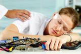 Woman sleeping among mechanic details