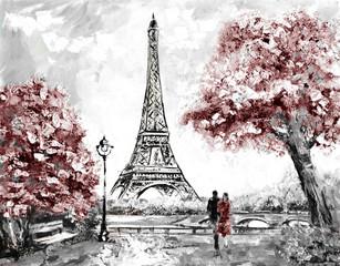 Oil Painting, Street View of Paris. Tender landscape