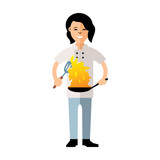 Vector Cook with burning pan. Flat style colorful Cartoon illustration.