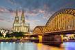 Leinwanddruck Bild - Köln Dom mit Brücke