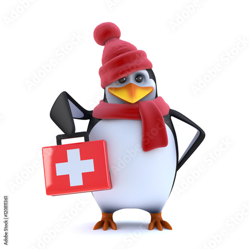 3d Winter penguin brings first aid