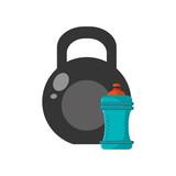 flat design kettlebell and sports bottle icon vector illustration