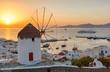 Windmühle über Mykonos Stadt bei Sonnenuntergang, ohne Leute, ohne Stromkabel