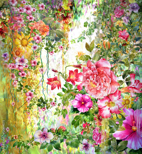 Obraz Abstract flowers watercolor painting. Spring multicolored flowers
