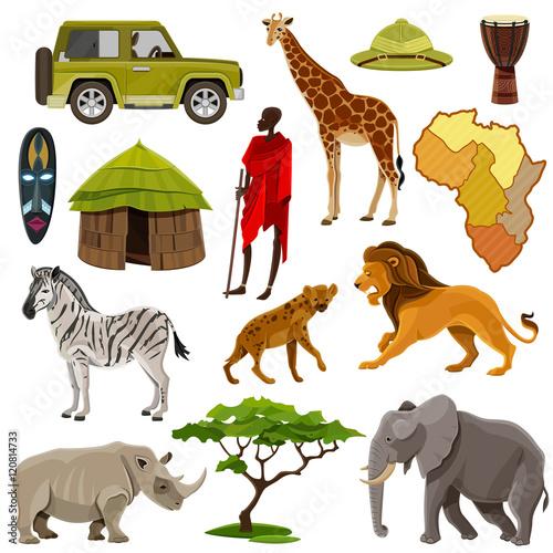 Staande foto Kinderkamer Africa Icons Set