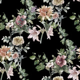 Watercolor painting of leaf and flowers, seamless pattern on dark background, - 120816115