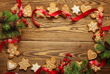 christmas card - gingerbread cookies frame background