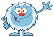 Cute Little Yeti Cartoon Mascot Character Waving For Greeting. Illustration Isolated On White Background