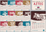 Desk triangle calendar 2017 template with Aztec symbols design. Size: 150mm x 210mm. Format vertical. Vector image. English version