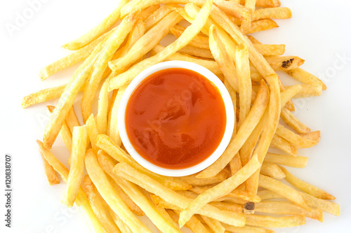 Poster French fries with ketchup on a white background, Top view