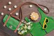 Fashion. Summer Fashion woman Clothes Accessories Set. Fashion Hipster Handbag, Stylish Top, Trendy Sunglasses, flowers. Fashion essentials set. Overhead Urban Outfit. Top view on Wood, Minimal Art