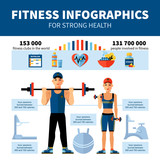 Fitness Infographics With Sport Clubs Statistics