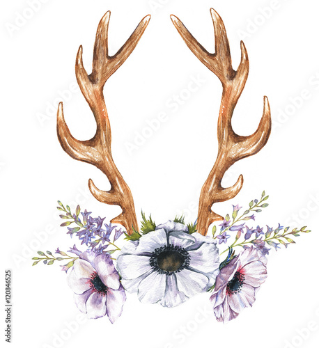 Beautiful illustration with the watercolor anemone flowers, hyacinth and antlers. Floral composition in boho style with antlers drawing - 120846525