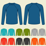 Set of colored long sleeve shirts templates for men