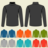 Set of colored turtlenecks templates for men