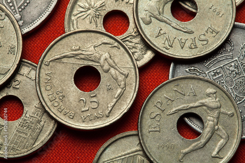 Poster Coins of Spain. High jumper and discus thrower
