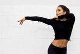 Dancer girl dancing on white background