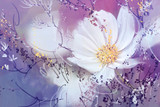 Digital Painting style oil Cosmos Flower white.