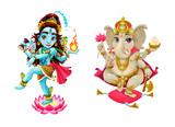 Representation of hindu gods Shiva and Ganesha