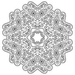 Vector henna tatoo mandala. Mehndi style.Decorative pattern in oriental style.