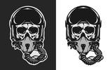 Skull in combat pilot helmet.