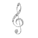 Treble clef sign made up from black music notes on white